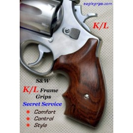 S&W K/L Frame Round Butt GENUINE ROSEWOOD Secret Service Revolver Grips - SMOOTH
