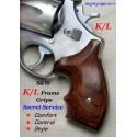 S&W K/L Frame Round Butt GENUINE ROSEWOOD Secret Service Revolver Grips - SMOOTH