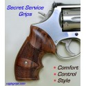 S&W K/L Frame Round Butt Genuine Rosewood Secret Service Grips - Checkered