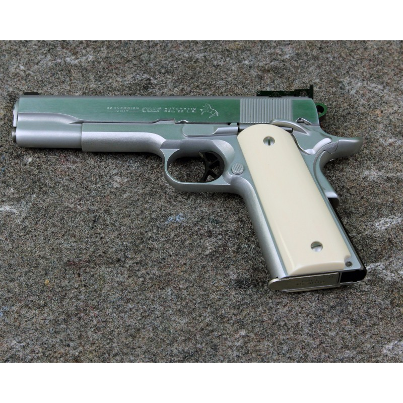 Colt 1911 Ivory-Like Grips, With Relief Carved Semi-Nude