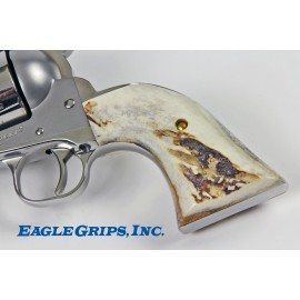 Ruger New Vaquero GENUINE SAMBAR STAG Revolver Grips - SMOOTH