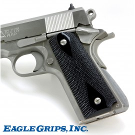 1911 - Black Polymer Panel Grips - CHECKERED