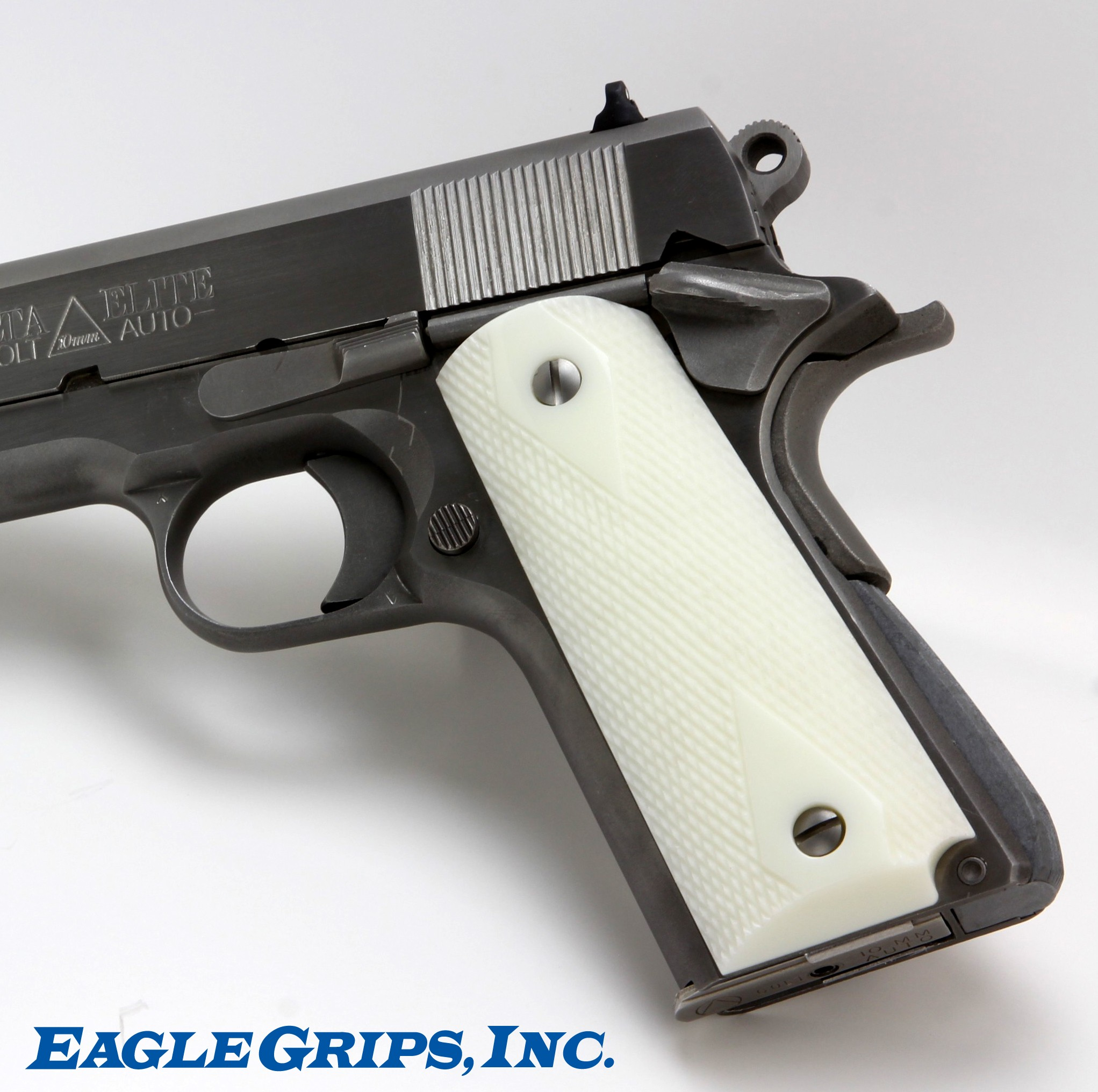 1911 ivory polymer panel checkered grips