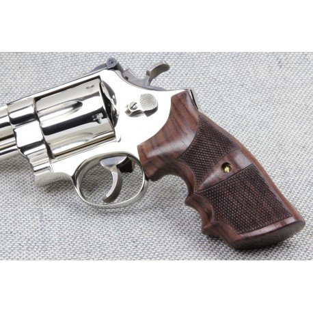 Combat - S&W K/L Frame Round Butt Checkered Rosewood Grips