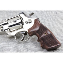 S&W N Frame Square Butt - GENUINE ROSEWOOD Combat Classic Grips - Checkered