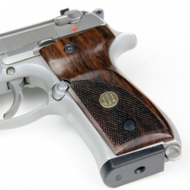 Beretta 92/M9 GENUINE ROSEWOOD Thumbrest Grips - CHECKERED w/Beretta medallions