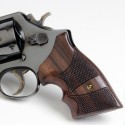 S&W K/L Frame Square Butt - Genuine Rosewood CHECKERED Secret Service Grips