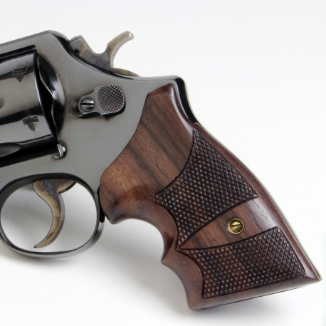 S&W K/L Square Frame Rosewood Grips Checkered