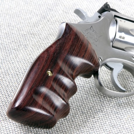 S&W N Frame Square Butt - GENUINE ROSEWOOD Combat Contour Grips - Smooth