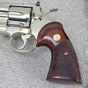 "Colt Python ""Third Type"" - Rosewood Heritage Grips - CHECKERED w/reclaimed medallions"