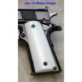White 1911 Semi Auto Grips Smooth