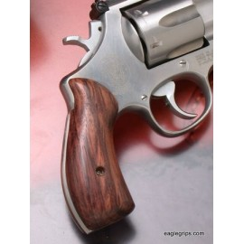 """S&W N Frame Round Butt - GENUINE ROSEWOOD """"Panel Style"""" Revolver Grips - SMOOTH"""