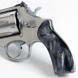 S&W K/L Frame Round Butt - Kirinite Black Pearl Revolver Grips