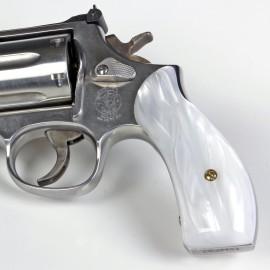 S&W K/L Frame Round Butt - Kirinite White Pearl Revolver Grips