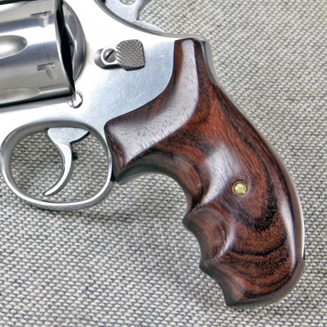 S&W K/L Round Butt Genuine Rosewood Combat Contour Smooth Grips