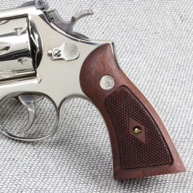 S&W K/L Frame Sq Butt - Walnut Heritage Panel Grips - CHECKERED