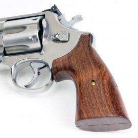S&W K/L Frame Round Butt - Genuine Rosewood Classic Revolver Grips - Smooth