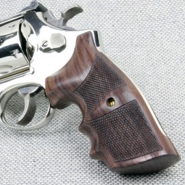 Rosewood CHECKERED Combat Revolver Grips for the Smith & Wesson K/L Frame Square Butt