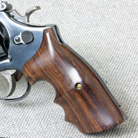 S&W K/L Frame Square Butt Indian Rosewood Finger Position Smooth Grips