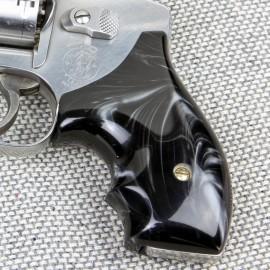 Black Ultra Pearl Secret Service S&W J Frame Round Butt Grips