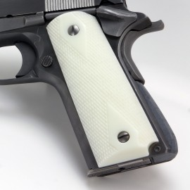 White 1911 Semi Auto Grips Checkered