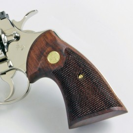 """Colt Python & Official Police """"Second Type"""" Rosewood Heritage Grips Checkered w/Reclaimed Medallions"""