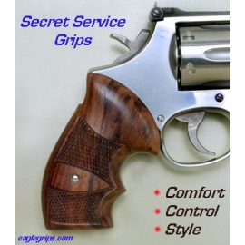 S&W N Frame Rnd Butt GENUINE ROSEWOOD Secret Service Revolver Grips - CHECKERED
