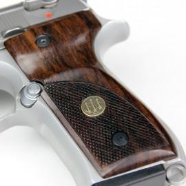Beretta 92/M9 GENUINE ROSEWOOD Thumbrest Grips - CHECKERED w/Beretta medallions