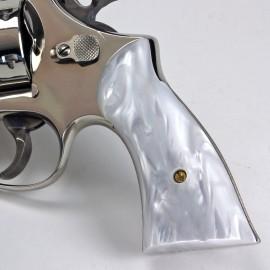 S&W K/L Frame Square Butt - Kirinite White Pearl Revolver Grips