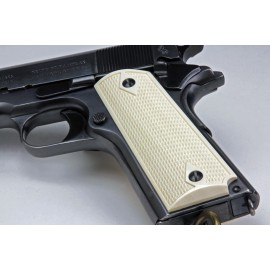 Colt Officers Model 1911 Genuine African Elephant Ivory Grips Checkered