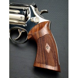 S&W K/L Frame Square Butt - CHECKERED ROSEWOOD Heritage Grips - CHECKERED