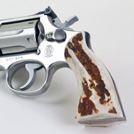 S&W K/L Frame Square Butt Sambar Stag Grips