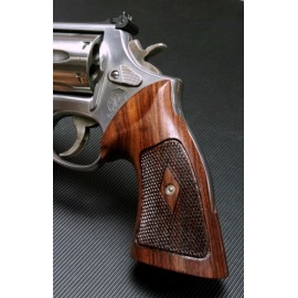 S&W K/L Frame Round Butt - GENUINE ROSEWOOD Heritage Grips - CHECKERED