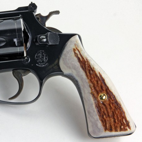 S&W J Frame Square Butt Sambar Stag Grips