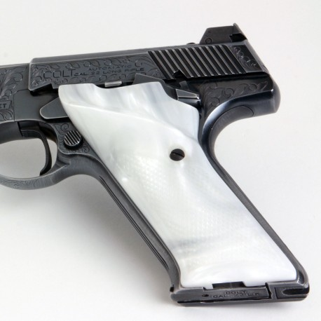Colt Woodsman Second Generation Kirinite® White Pearl Grips Checkered