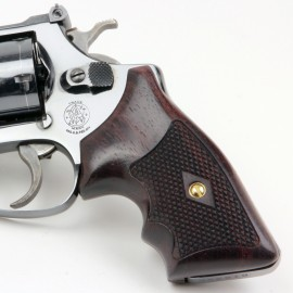 S&W J Frame Square Butt Rosewood Secret Service Grips Checkered
