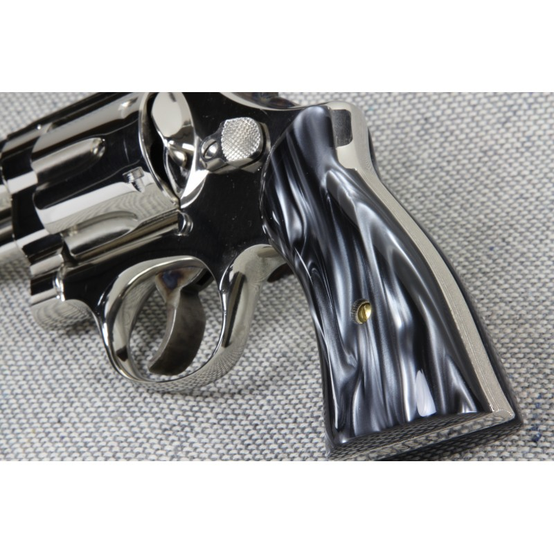 S&W K/L Frame Square Butt - Kirinite Black Pearl Revolver Grips