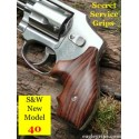 "S&W J Frame Round Butt ""Model 40"" Rosewood Secret Service Grips Smooth"